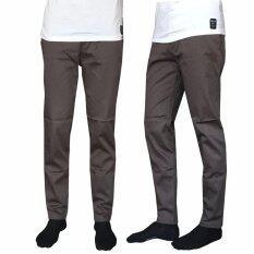 ส่วนลด Kawpan กางเกงสเเล็ก ผ้ายืด ขากระบอกเล็ก Chino สำหรับผู้ชาย สีเทาเข้ม ชลบุรี