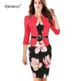 ซื้อ Kenancy Hot Patchwork Stretch Flower Pencil Dress Elegant Women Plus Size Bodycon Casual Work Dress With Belt Intl ถูก ใน จีน