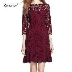 ขาย Kenancy Womens Elegant Full Floral Lace Fit And Flare A Line Dress 3 4 Sleeve Cocktail Party Wedding Work Knee Length Dress Intl ถูก