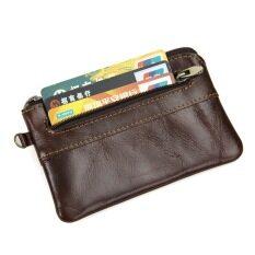 ราคา ราคาถูกที่สุด Kevin Yun Vintage Genuine Leather Men Coin Purse Small Pocket Wallet Coffee