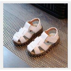 เด็กชายเด็กชายเด็กหญิงรองเท้าแตะหนังฤดูร้อน Prewalker รองเท้าแตะชายหาดลำลองรองเท้าไซส์ใหญ่สีขาวไซส์ 23/us ขนาด 7-นานาชาติ.