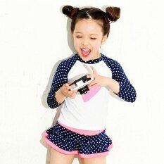 ขาย Kid G*rl Beachwear 2 Pieces Cute Heart Shape Suncreen Long Sleeve Spot Skirt Swimsuit 7098 Intl ใน จีน