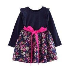 ราคา เด็กชุดลำลองยาวคอยาว O Neck สาวน่ารักเข็มขัดเย็บดอกไม้ชุด จีน