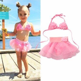 Kids Baby Girls Pink Bikini Suit Set Swimsuit Swimwear Bathing Swimming Clothes - intl