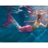 ราคา Kids Girls Swimmable Mermaid ชุดนางเงือก ชุดว่ายน้ำเด็กผู้หญิง หางนางเงือก รุ่น Flower ตีนกบ สีชมพู เป็นต้นฉบับ Dress Dekdee