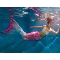 ซื้อ Kids Girls Swimmable Mermaid ชุดนางเงือก ชุดว่ายน้ำเด็กผู้หญิง หางนางเงือก รุ่น Flower ตีนกบ สีชมพู ออนไลน์