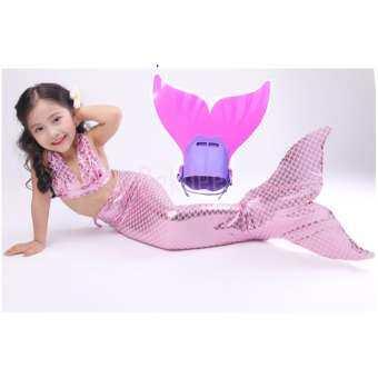 Kids Girls Swimmable Mermaid ชุดนางเงือก ชุดว่ายน้ำเด็กผู้หญิง หางนางเงือก รุ่น Metalic (สีชมพูอ่อน) + ตีนกบ (สีชมพู)