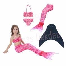 ราคา Kids Girls Swimmable Mermaid ชุดนางเงือก ชุดว่ายน้ำเด็กผู้หญิง หางนางเงือก รุ่น Super Dot ตีนกบ สีชมพู ใน กรุงเทพมหานคร
