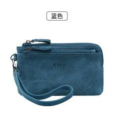 ราคา Kimo กระเป๋าสตางค์สตรีใบสั้นมีซิปแบบเรียบง่าย สีฟ้า ใน ฮ่องกง