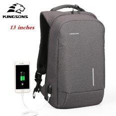 ราคา Kingsons 13 External Usb Charging Backpacks Sch**l Backpack Bag Laptop Computer Bags Men S Women S Travel Bags Business Bags Black Intl