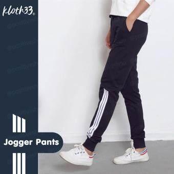 Kloth33 กางเกงวอร์ม 3 แถบล่าง กางเกงขายาว กางเกงวอร์ม กางเกงขายาว กางเกงวอร์มแฟชั่นกางเกงวอร์มแถบข้าง แฟชั่นสไตล์เกาหลี Worm Pant (Black/สีดำ)