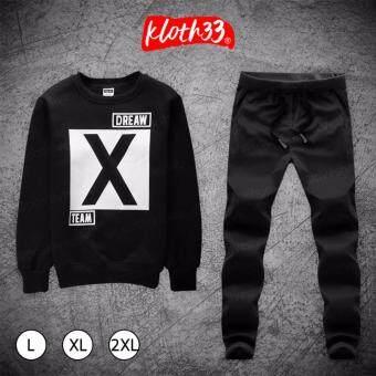 Kloth33เสื้อ+กางเกง ชุดลำลอง เสื้อผ้าแฟชั่นผู้ชายสไตล์เกาหลีเสื้อแขนยาว กางเกงขายาว Korean Style Men's Pants ลาย X-Team (Black/สีดำ)