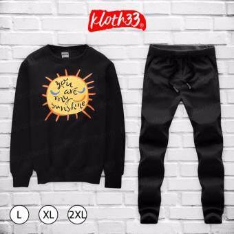 Kloth33เสื้อ+กางเกง ชุดลำลอง เสื้อผ้าแฟชั่นผู้ชายสไตล์เกาหลีเสื้อแขนยาว กางเกงขายาว Korean Style Men's Pants ลาย SUN SHINE (Black/สีดำ)