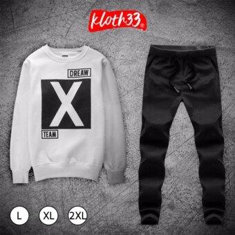 Kloth33เสื้อ+กางเกง ชุดลำลอง เสื้อผ้าแฟชั่นผู้ชายสไตล์เกาหลีเสื้อแขนยาว กางเกงขายาว Korean Style Men's Pants ลาย X-Team (White/สีขาว)