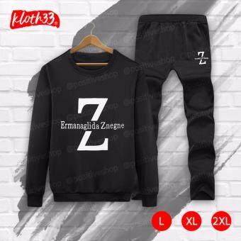 Kloth33เสื้อ+กางเกง ชุดลำลอง เสื้อแขนยาว กางเกงขายาว เสื้อผ้าแฟชั่นผู้ชายสไตล์เกาหลีชุดแฟชั่น Korean Style Men's Pants ลาย Z (Black/สีดำ)