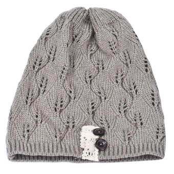 หมวกถักลำลองแบบเป็นแอ่งกว้างใบปุ่มลูกไม้หมวกขนสัตว์ (สีเทาอ่อน) - INTL-