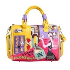 ทบทวน Kobwa ผู้หญิงกระเป๋า Pu หนังกระเป๋าสะพายเดินทาง Totes Ladies เย็บปักถักร้อยการ์ตูนกระเป๋าแฟชั่นขนาดใหญ่สีเหลือง Louis Will