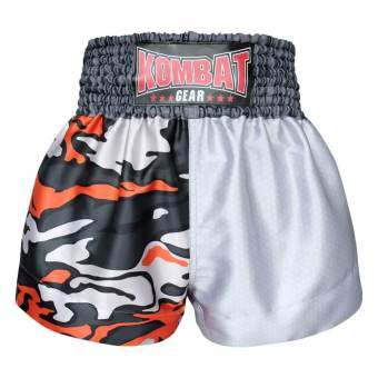 Kombat Gear Muay Thai Boxing shorts Two Tone White Orange Army Camouflage-
