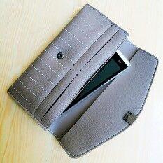 ขาย ซื้อ Korea Best Style กระเป๋าสตางค์ใบยาว2พับใส่เงินใส่มือถือ รุ่น Mb030 1C สีเทา กรุงเทพมหานคร