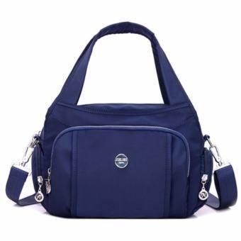 Korea กระเป๋าสะพายข้าง แบบมีหูหิ้ว ผ้ากันน้ำ รุ่น G012-8 -b สีน้ำเงิน-