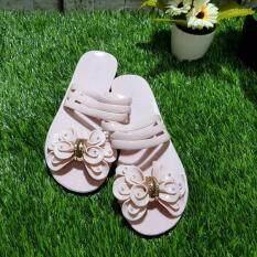 Korea Keng รองเท้าแตะแบบสวม แต่งดอกไม้ ชมพูพาสเทล รุ่น 30 1009 Kornjii ถูก ใน กรุงเทพมหานคร
