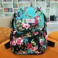ขาย Korea กระเป๋าเป้สะพายหลังผ้ากันน้ำ รุ่น G010 6 สีฟ้าดำลายดอก ใหม่