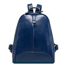 ซื้อ Korea กระเป๋าเป้สะพายหลังสไตล์เกาหลี หนังแท้ รุ่น A002 5 สีน้ำเงิน ถูก ใน Thailand