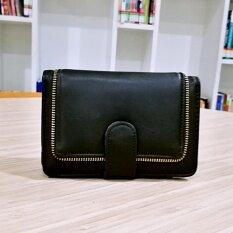 ขาย Korea กระเป๋าสตางค์ผู้หญิงใบสั้นทรงตั้ง รุ่น B018 8 สีดำ ออนไลน์