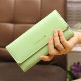 ราคา Korea กระเป๋าสตางค์ผู้หญิงใบยาวหนังเทียม Pu งานเกรดA รุ่น B014 1 G สีเขียว ใน ไทย