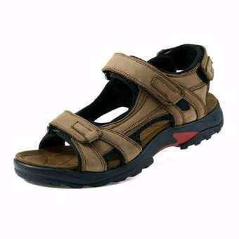 Korea size40 รองเท้าแตะลำลองรัดส้น ผู้ชาย รองเท้าคุณภาพ หนังแท้ รุ่นBS001(สีแทน)-