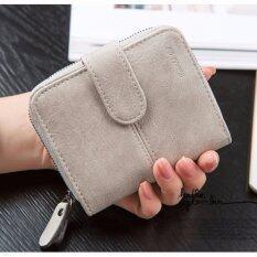 Koreaกระเป๋าสตางค์ผู้หญิง ใบสั้นมีช่องใส่เหรียญ หนัง รุ่นB099 9 M สีเทา ใหม่ล่าสุด