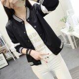 ราคา Korean Fan New Spring Loose Cardigan Jacket Collar Stitching Black Intl Unbranded Generic ใหม่