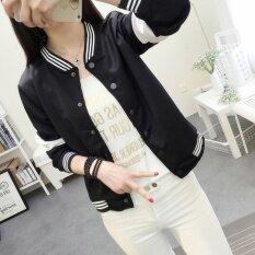 ซื้อ Korean Fan New Spring Loose Cardigan Jacket Collar Stitching Black Intl จีน