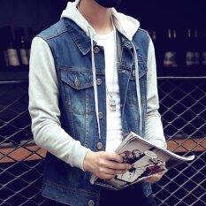 ขาย Korean Fashion Men Can Remove The Hooded Jean Jacket Blue Intl ราคาถูกที่สุด