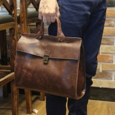 ขาย Korean Male Handbag Casual Bag Shoulder Bag Messenger Bag Tote Bag Men Geniue Cowhide Leather Document File Satchel Coffee ราคาถูกที่สุด