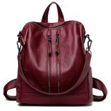 Korean Style Soft Leather Female Women S Backpack Red Wine Intl เป็นต้นฉบับ