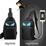 Korean Version Of The Men Messenger Bag Students Sports Leisure Bag Night Light Small Chest Bag Shoulder Bag Black Blue Intl ถูก