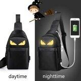 Korean Version Of The Men Messenger Bag Students Sports Leisure Bag Night Light Small Chest Bag Shoulder Bag Black Yellow Intl ถูก