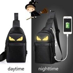 ขาย Korean Version Of The Men Messenger Bag Students Sports Leisure Bag Night Light Small Chest Bag Shoulder Bag Black Yellow Intl Zmgang ถูก