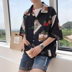 Korean Version Of The New All-Match Leisure Mens Fashion Personality Print Shirt Loose Youth Five Sleeve Shirt Tide - Intl.