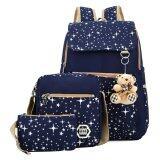 ราคา กระเป๋าเป้ผ้าใบสีน้ำเงินกระเป๋านักเรียนหญิง Vakind เป็นต้นฉบับ