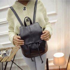 ราคา กระเป๋าเป้สะพายหลัง ผู้หญิง กระเป๋าเป้เกาหลี กระเป๋าเป้หนัง รุ่น St 12676 สีดำ Fashion