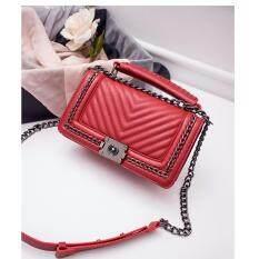 ขาย กระเป๋าหนังแกะ ทรง Chanel Boy Lady Red Co Zycoach