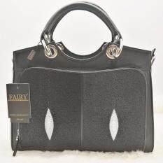 ราคา กระเป๋าหนังปลากระเบน ทรงถือ สายสะพาย รุ่น Sp 01 สีดำ Fairy Bag ใหม่