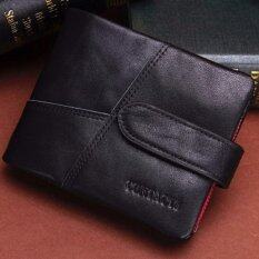 ขาย กระเป๋าสตางค์ ผู้ชาย หนังแท้ กระเป๋าเงิน กระเป๋าตัง บาง ทรงสั้น Contacts Genuine Cow Leather Men Wallets Fashion Purse Card Holder Wallet Man Coin Pocket Black ออนไลน์