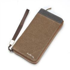 ราคา กระเป๋าสตางค์ของผู้ชายมีซิปกระเป๋าคลัตช์ผ้ากำไลยาว Gmwts60332 สีน้ำตาล ใน จีน