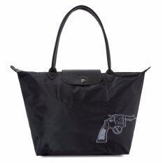 ซื้อ กระเป๋าสตรี Longchamp Le Pliage ปักลายปืน Bang ทั้งสองด้าน หูยาวไซส์m สีดำ ออนไลน์