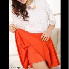 กระโปรงสั้น ซับกางเกง Colorful Pleated Skirt สีส้ม เป็นต้นฉบับ