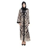 ราคา Kuhong Fashion Kaftans Print Muslim Abaya Long Sleeve Islam Maxi Dress Women Long Robes Intl ออนไลน์