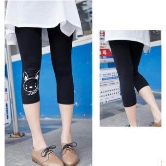L105กางเกงเล็คกิ้งสีดำ ขา 3 ส่วน ที่ปลายขาสกรีนลายกระต่าย